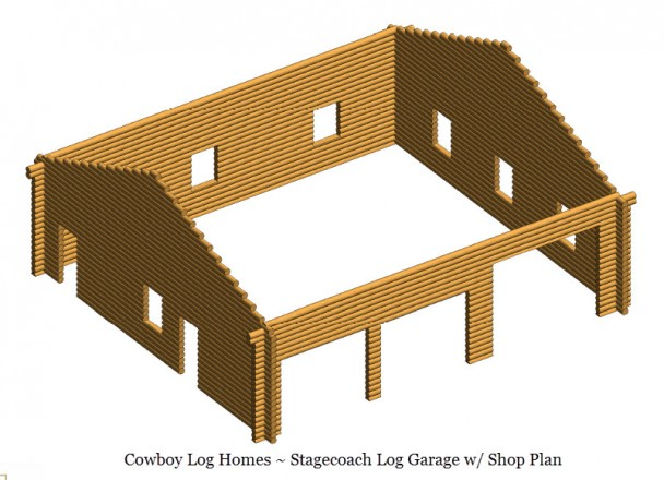 stagecoach log garage shell