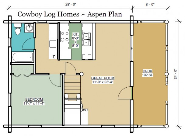 aspen log home plan first floor