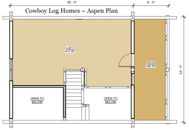 aspen log home plan loft