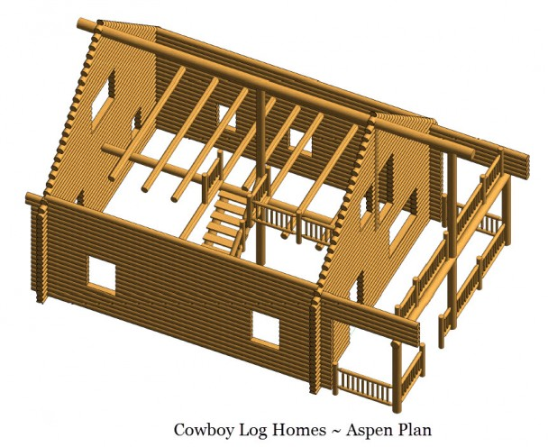 aspen log home plan log shell