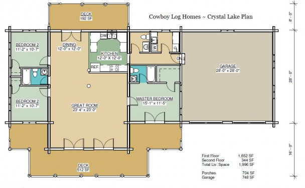 crystal lake log home plan