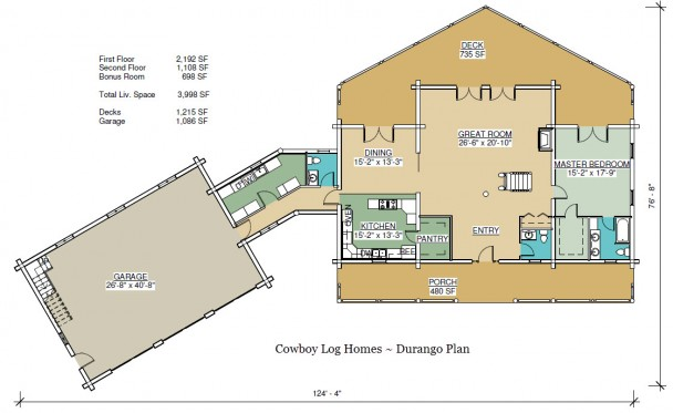 durango log home first floor plan