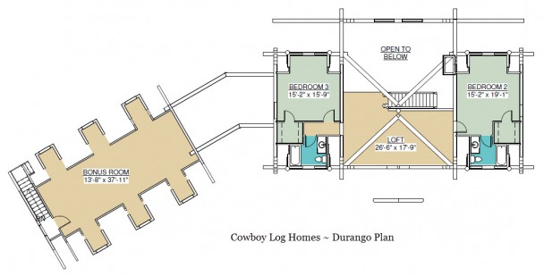 durango log home plan loft