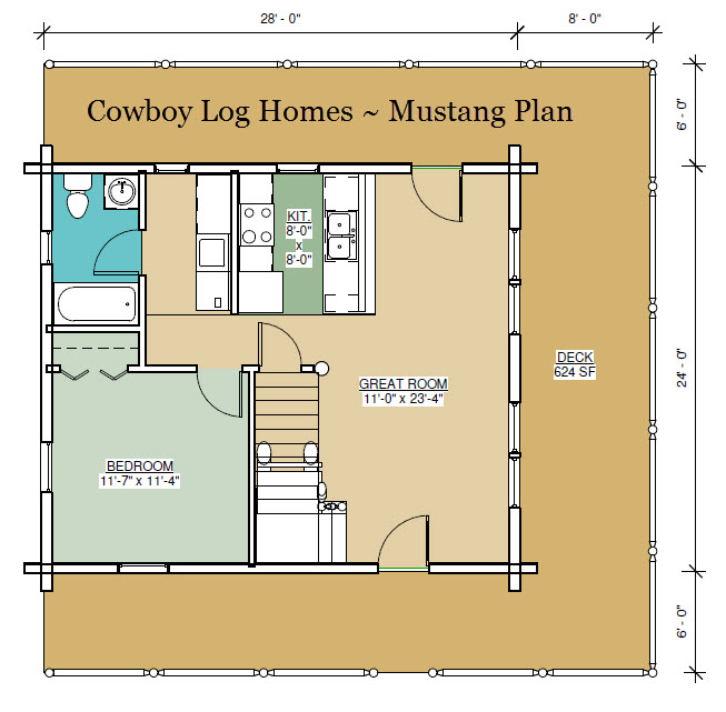 Mustang plan 996 square feet cowboy log homes for Log floor plans new homes