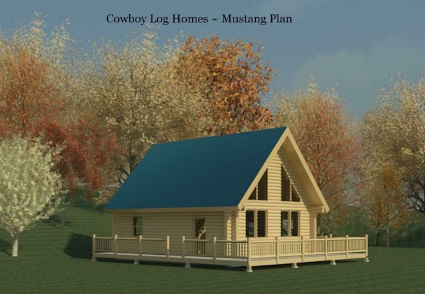 mustang log home plan elevation