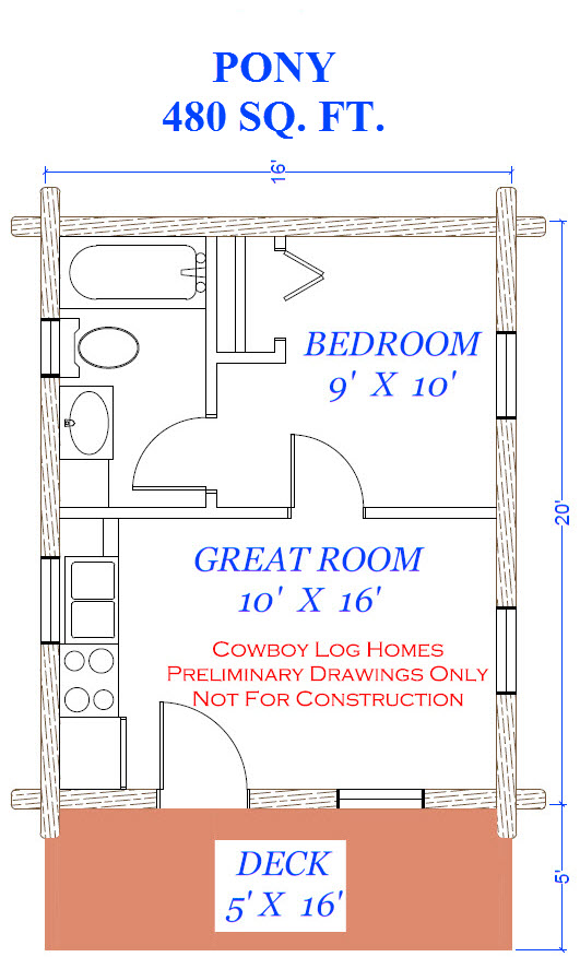 Pony Plan 480 Square Feet Cowboy Log Homes