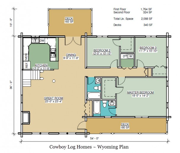 wyoming log home first floor plan